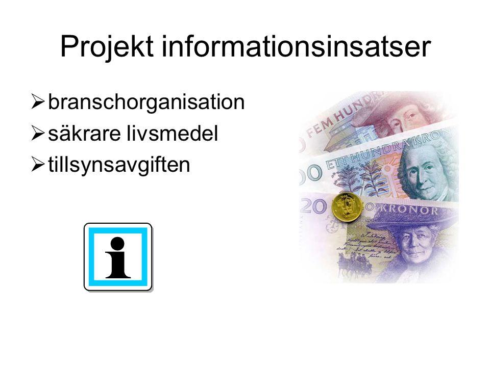 Projekt informationsinsatser  branschorganisation  säkrare livsmedel  tillsynsavgiften