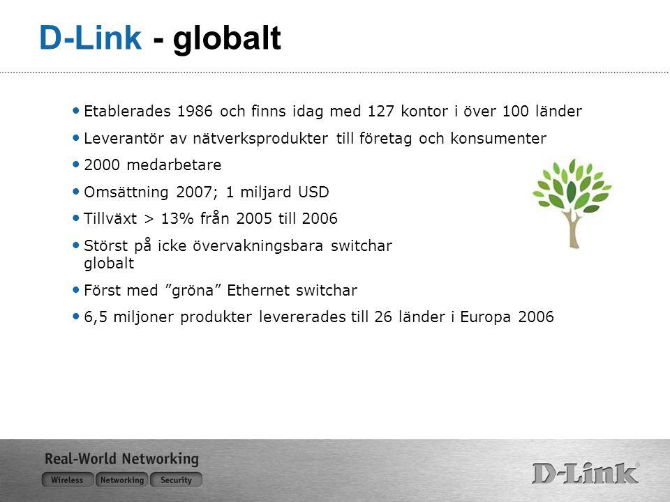 D-Link - globalt Etablerades 1986 och finns idag med 127 kontor i över 100 länder Leverantör av nätverksprodukter till företag och konsumenter 2000 medarbetare Omsättning 2007; 1 miljard USD Tillväxt > 13% från 2005 till 2006 Störst på icke övervakningsbara switchar globalt Först med gröna Ethernet switchar 6,5 miljoner produkter levererades till 26 länder i Europa 2006