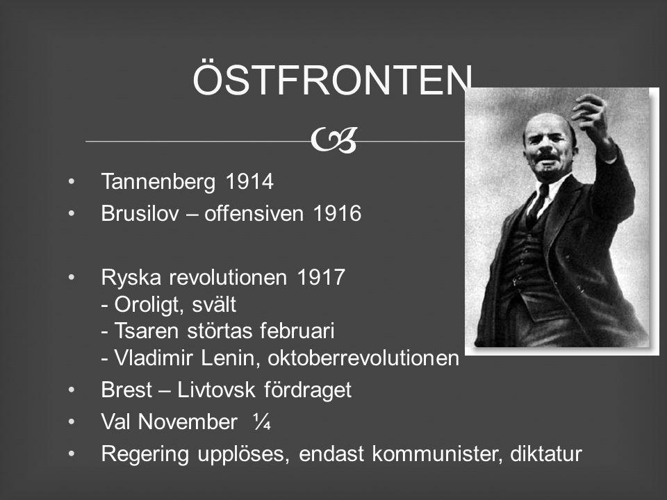  Tannenberg 1914 Brusilov – offensiven 1916 Ryska revolutionen 1917 - Oroligt, svält - Tsaren störtas februari - Vladimir Lenin, oktoberrevolutionen
