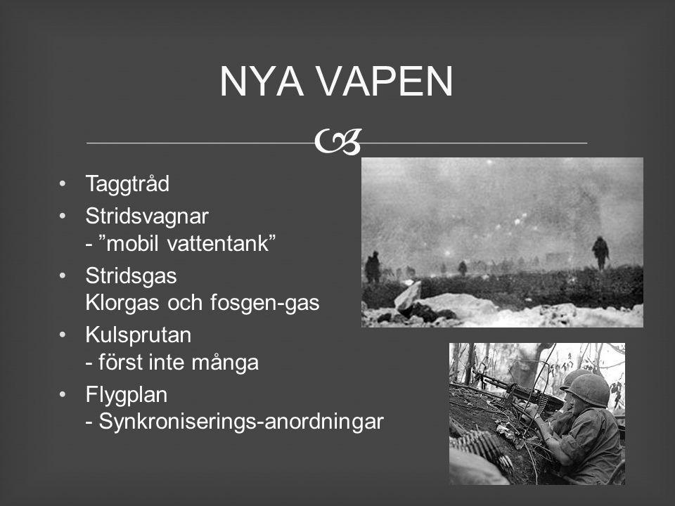 """ Taggtråd Stridsvagnar - """"mobil vattentank"""" Stridsgas Klorgas och fosgen-gas Kulsprutan - först inte många Flygplan - Synkroniserings-anordningar NYA"""