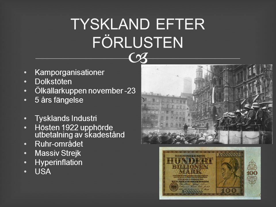  Kamporganisationer Dolkstöten Ölkällarkuppen november -23 5 års fängelse Tysklands Industri Hösten 1922 upphörde utbetalning av skadestånd Ruhr-områ