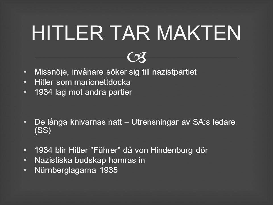  Missnöje, invånare söker sig till nazistpartiet Hitler som marionettdocka 1934 lag mot andra partier De långa knivarnas natt – Utrensningar av SA:s
