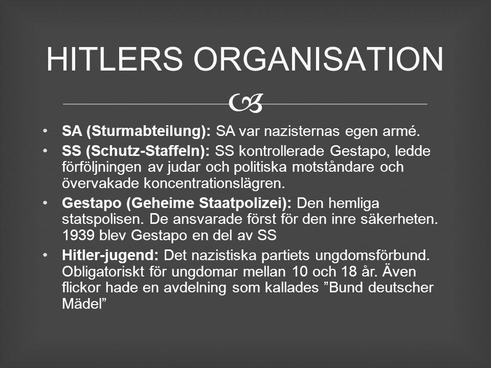  SA (Sturmabteilung): SA var nazisternas egen armé. SS (Schutz-Staffeln): SS kontrollerade Gestapo, ledde förföljningen av judar och politiska motstå