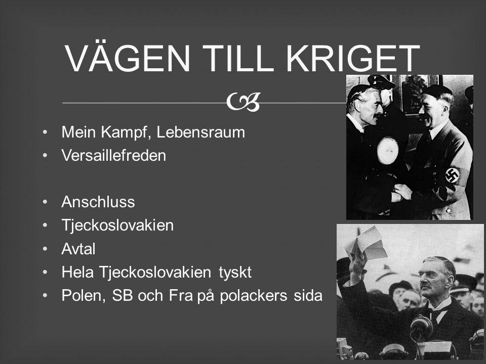 Mein Kampf, Lebensraum Versaillefreden Anschluss Tjeckoslovakien Avtal Hela Tjeckoslovakien tyskt Polen, SB och Fra på polackers sida VÄGEN TILL KRI