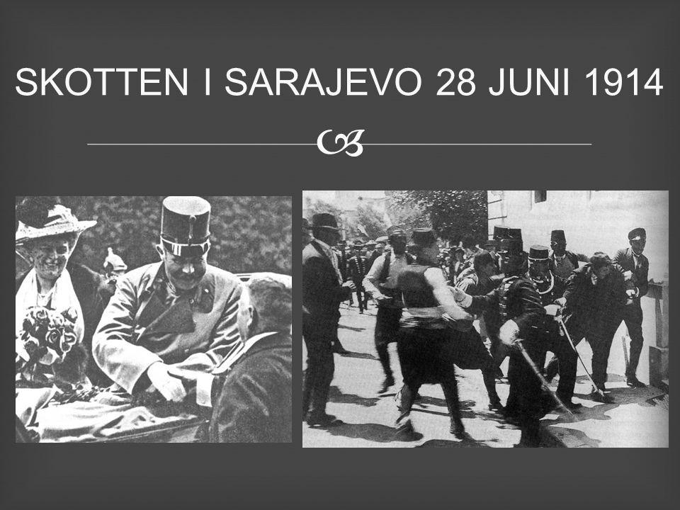  28 juli Krig Ö/U – Serbien 29 juli partiell mobilisering Tyskland 30 juli Ryssland mobilisering 1 augusti, Tyskland – Ryssland 2 Augusti – Fri passage 3 augusti, Tyskland – Frankrike 4 augusti, Storbritannien – Tyskland 6 augusti - Ö/U - Ryssland SVARTA VECKAN