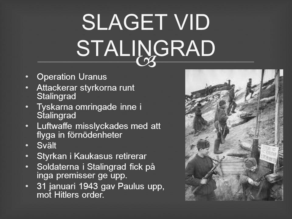 Operation Uranus Attackerar styrkorna runt Stalingrad Tyskarna omringade inne i Stalingrad Luftwaffe misslyckades med att flyga in förnödenheter Svä