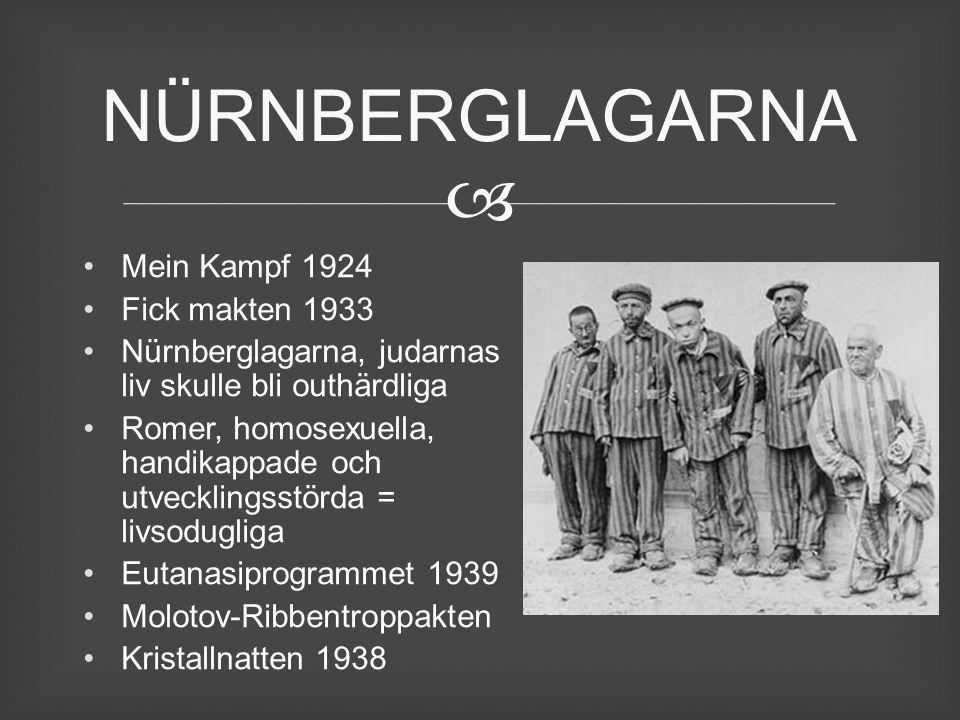  Mein Kampf 1924 Fick makten 1933 Nürnberglagarna, judarnas liv skulle bli outhärdliga Romer, homosexuella, handikappade och utvecklingsstörda = livs