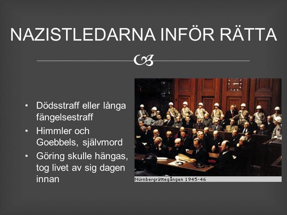  Dödsstraff eller långa fängelsestraff Himmler och Goebbels, självmord Göring skulle hängas, tog livet av sig dagen innan NAZISTLEDARNA INFÖR RÄTTA