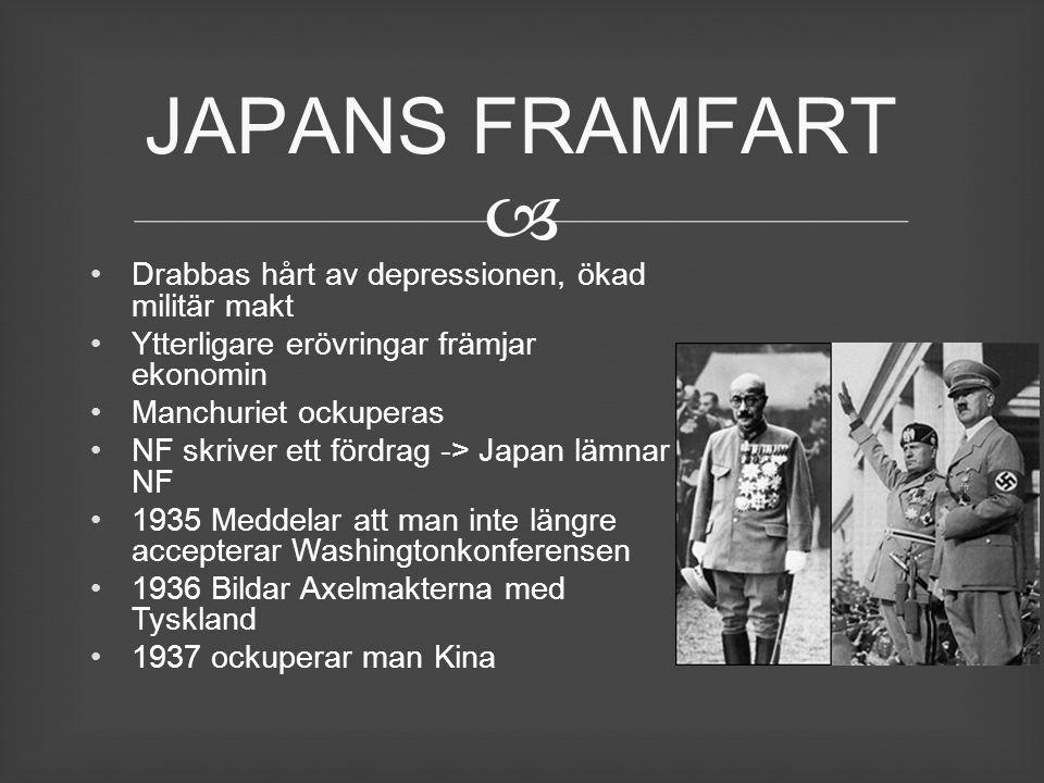  Drabbas hårt av depressionen, ökad militär makt Ytterligare erövringar främjar ekonomin Manchuriet ockuperas NF skriver ett fördrag -> Japan lämnar