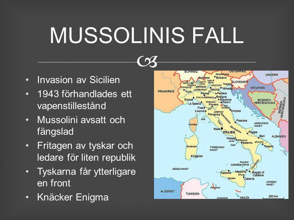  Invasion av Sicilien 1943 förhandlades ett vapenstillestånd Mussolini avsatt och fängslad Fritagen av tyskar och ledare för liten republik Tyskarna