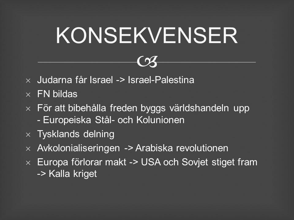   Judarna får Israel -> Israel-Palestina  FN bildas  För att bibehålla freden byggs världshandeln upp - Europeiska Stål- och Kolunionen  Tyskland