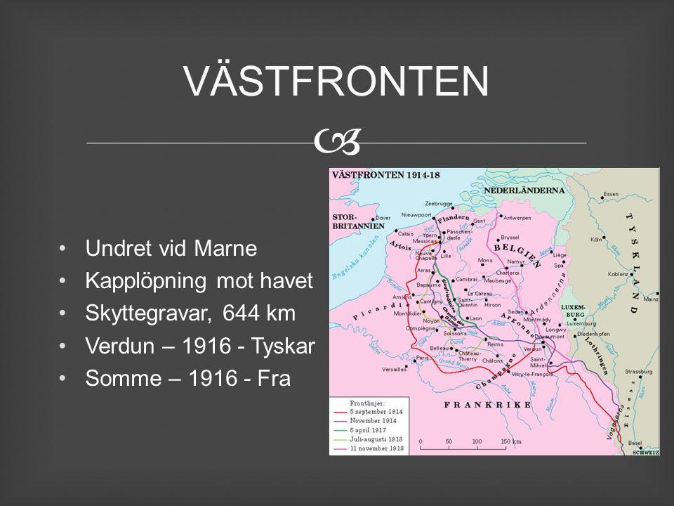  Undret vid Marne Kapplöpning mot havet Skyttegravar, 644 km Verdun – 1916 - Tyskar Somme – 1916 - Fra VÄSTFRONTEN