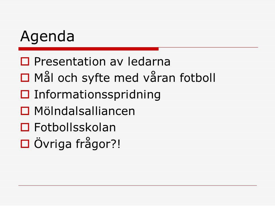 Agenda  Presentation av ledarna  Mål och syfte med våran fotboll  Informationsspridning  Mölndalsalliancen  Fotbollsskolan  Övriga frågor !