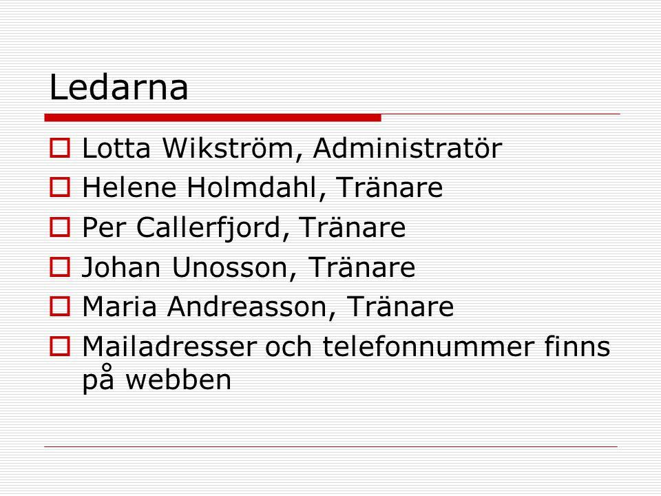 Ledarna  Lotta Wikström, Administratör  Helene Holmdahl, Tränare  Per Callerfjord, Tränare  Johan Unosson, Tränare  Maria Andreasson, Tränare  Mailadresser och telefonnummer finns på webben