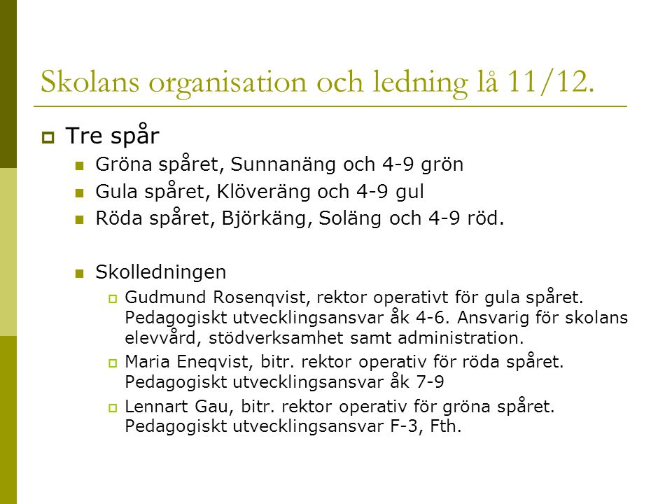 Skolans organisation och ledning lå 11/12.  Tre spår Gröna spåret, Sunnanäng och 4-9 grön Gula spåret, Klöveräng och 4-9 gul Röda spåret, Björkäng, S