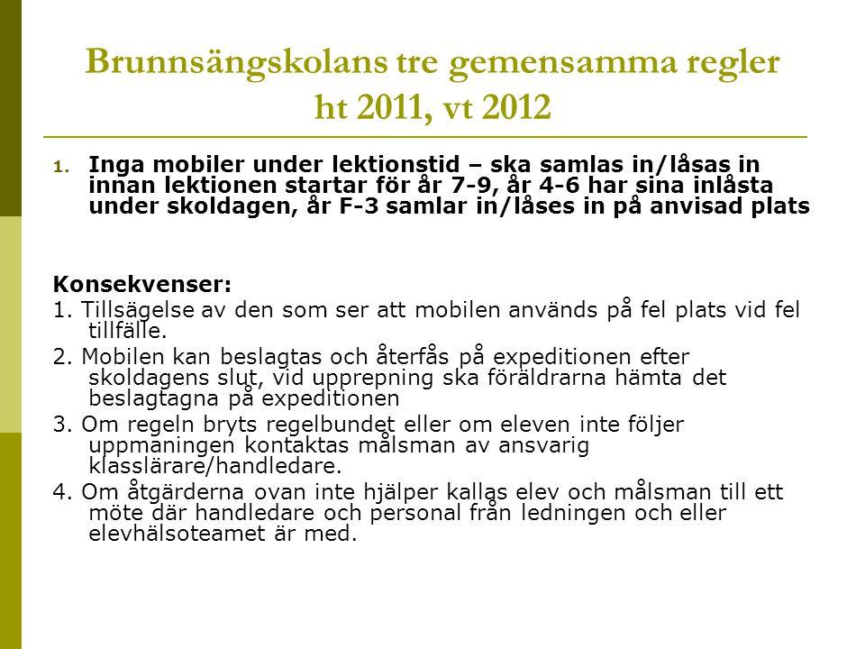 Brunnsängskolans tre gemensamma regler ht 2011, vt 2012 1. Inga mobiler under lektionstid – ska samlas in/låsas in innan lektionen startar för år 7-9,
