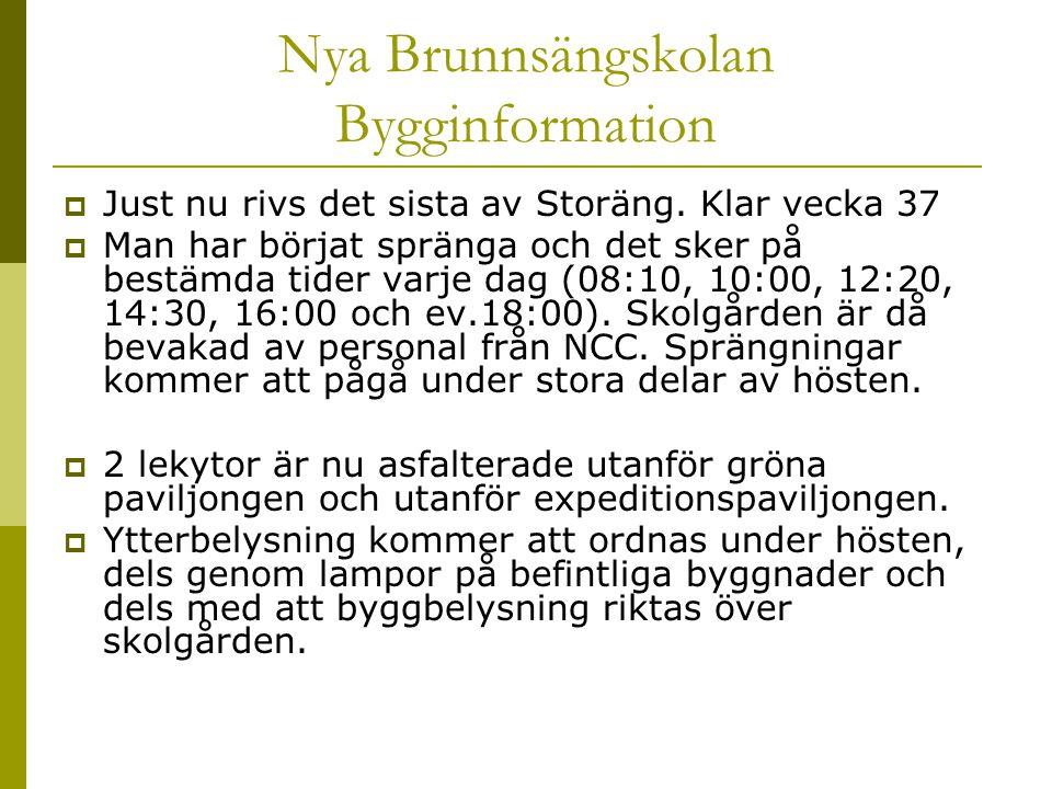 Nya Brunnsängskolan Bygginformation  Just nu rivs det sista av Storäng. Klar vecka 37  Man har börjat spränga och det sker på bestämda tider varje d