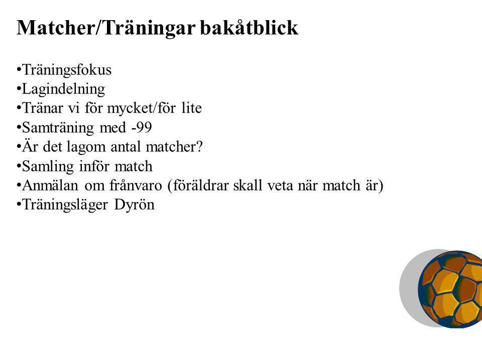 Matcher/Träningar bakåtblick Träningsfokus Lagindelning Tränar vi för mycket/för lite Samträning med -99 Är det lagom antal matcher.