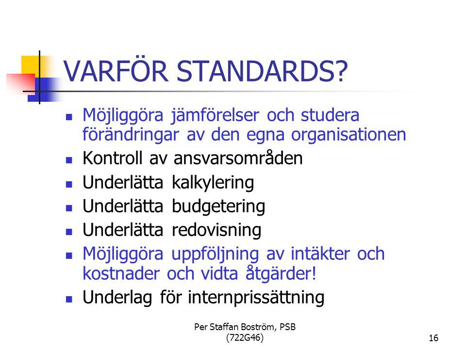 Per Staffan Boström, PSB (722G46)16 VARFÖR STANDARDS.
