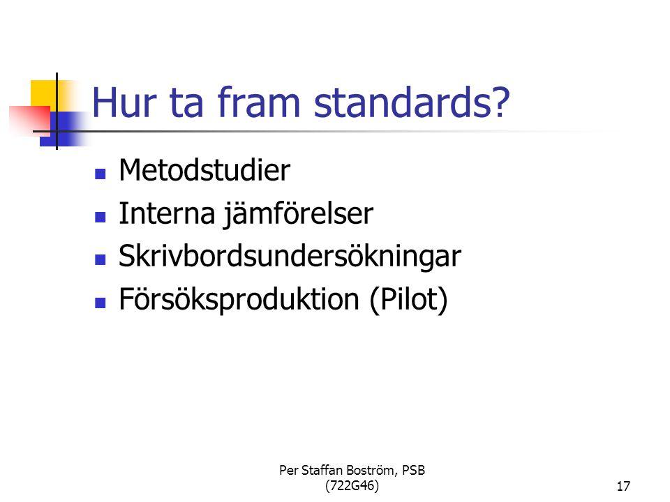 Per Staffan Boström, PSB (722G46)17 Hur ta fram standards.