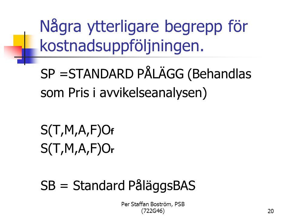 Per Staffan Boström, PSB (722G46)20 Några ytterligare begrepp för kostnadsuppföljningen.