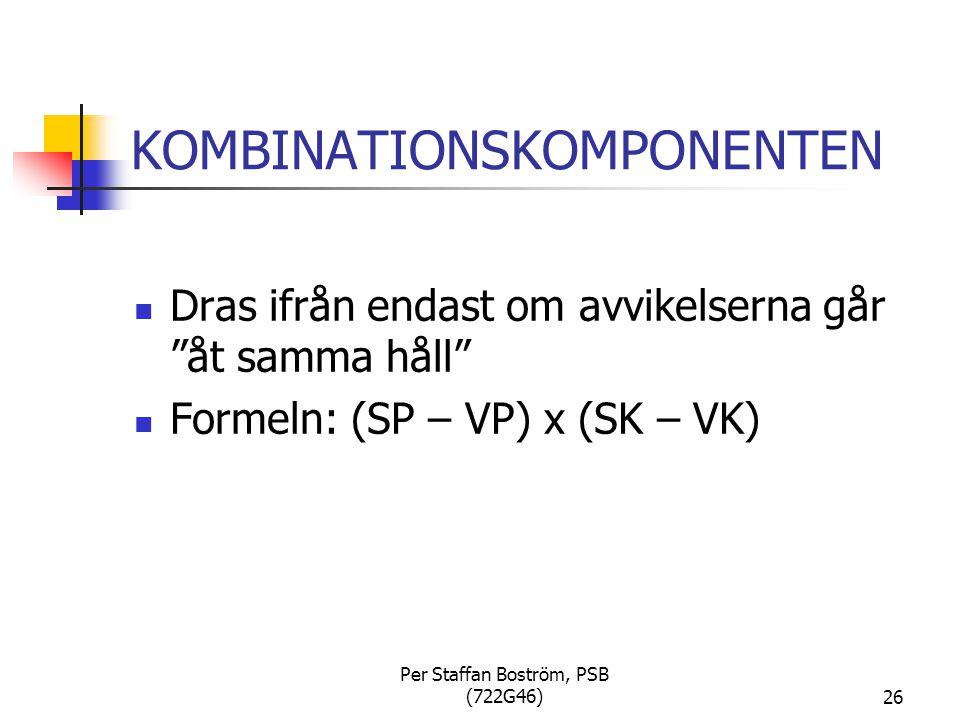 Per Staffan Boström, PSB (722G46)26 KOMBINATIONSKOMPONENTEN Dras ifrån endast om avvikelserna går åt samma håll Formeln: (SP – VP) x (SK – VK)