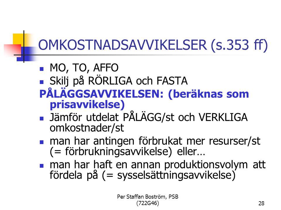 Per Staffan Boström, PSB (722G46)28 OMKOSTNADSAVVIKELSER (s.353 ff) MO, TO, AFFO Skilj på RÖRLIGA och FASTA PÅLÄGGSAVVIKELSEN: (beräknas som prisavvikelse) Jämför utdelat PÅLÄGG/st och VERKLIGA omkostnader/st man har antingen förbrukat mer resurser/st (= förbrukningsavvikelse) eller… man har haft en annan produktionsvolym att fördela på (= sysselsättningsavvikelse)