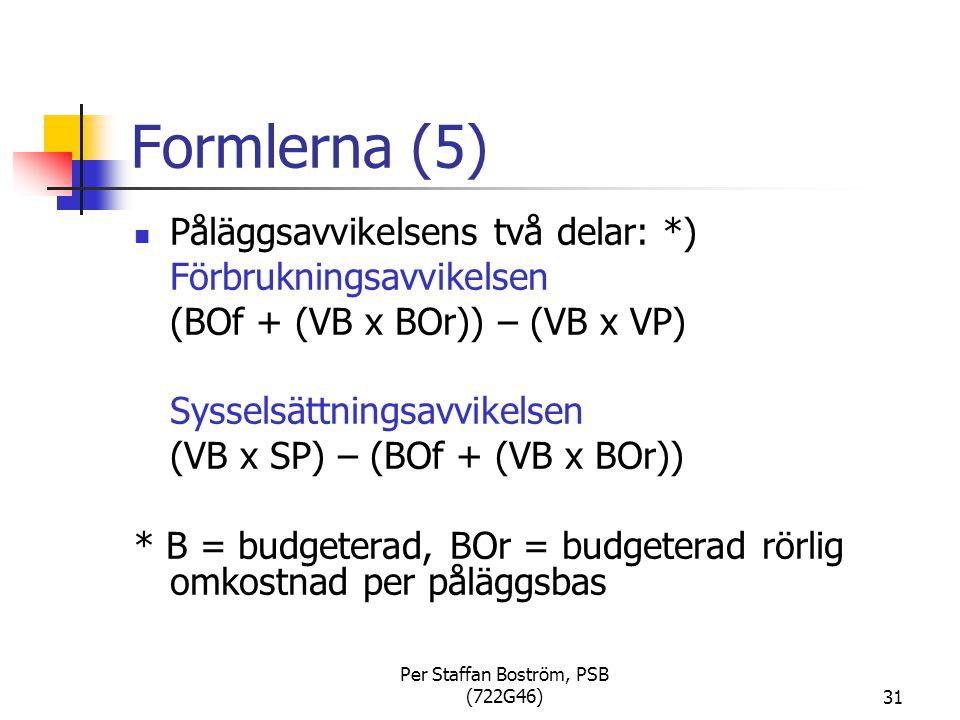 Per Staffan Boström, PSB (722G46)31 Formlerna (5) Påläggsavvikelsens två delar: *) Förbrukningsavvikelsen (BOf + (VB x BOr)) – (VB x VP) Sysselsättningsavvikelsen (VB x SP) – (BOf + (VB x BOr)) * B = budgeterad, BOr = budgeterad rörlig omkostnad per påläggsbas