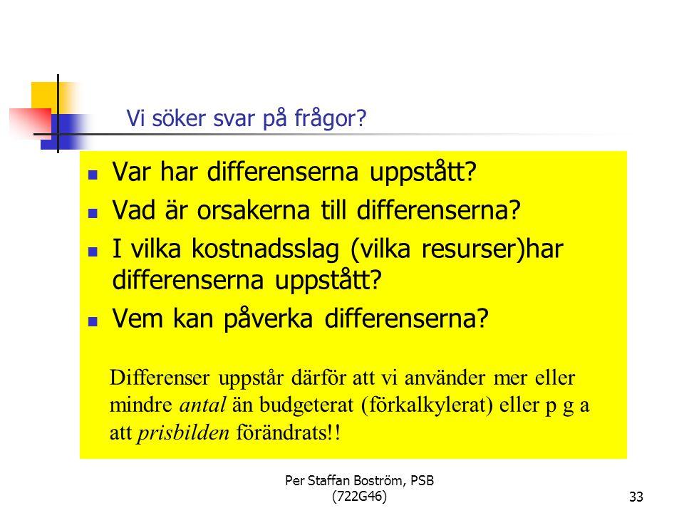 Per Staffan Boström, PSB (722G46)33 Vi söker svar på frågor.