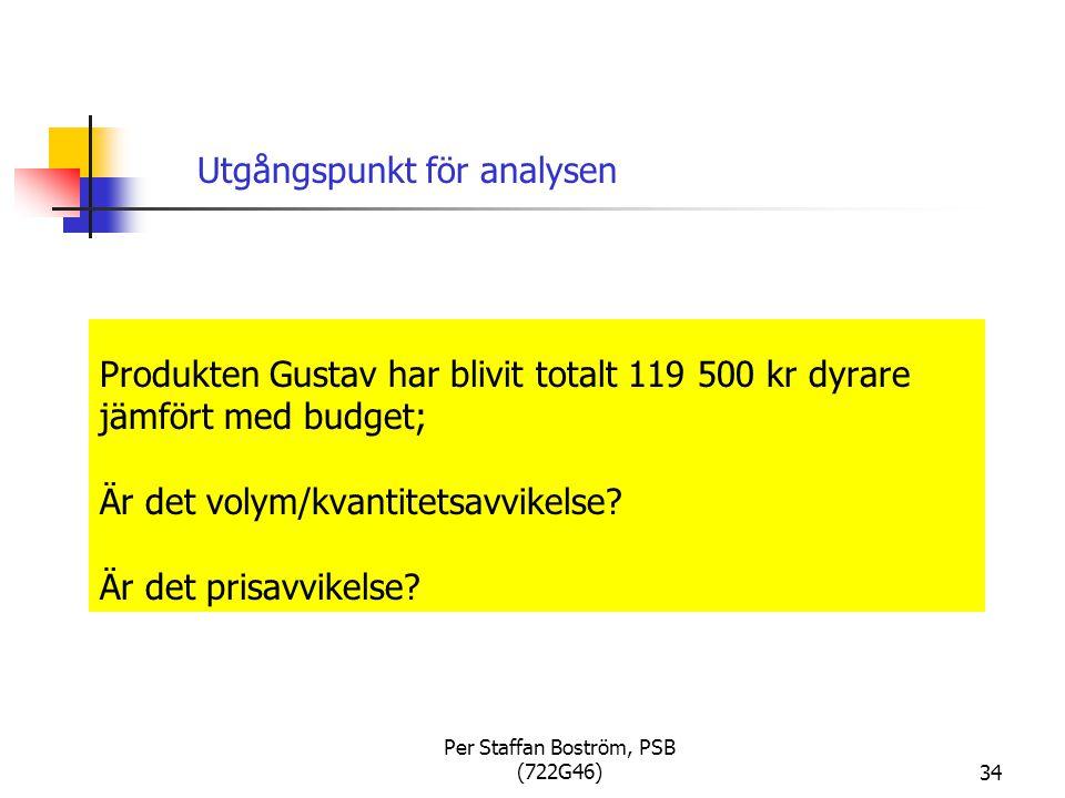 Per Staffan Boström, PSB (722G46)34 Produkten Gustav har blivit totalt 119 500 kr dyrare jämfört med budget; Är det volym/kvantitetsavvikelse.