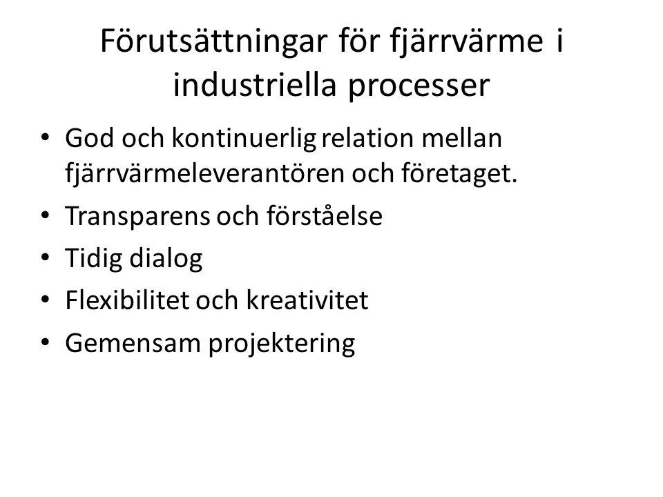 Förutsättningar för fjärrvärme i industriella processer God och kontinuerlig relation mellan fjärrvärmeleverantören och företaget.