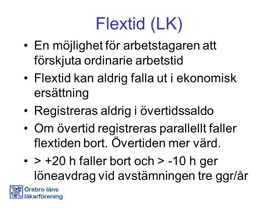 Flextid (LK) En möjlighet för arbetstagaren att förskjuta ordinarie arbetstid Flextid kan aldrig falla ut i ekonomisk ersättning Registreras aldrig i övertidssaldo Om övertid registreras parallellt faller flextiden bort.