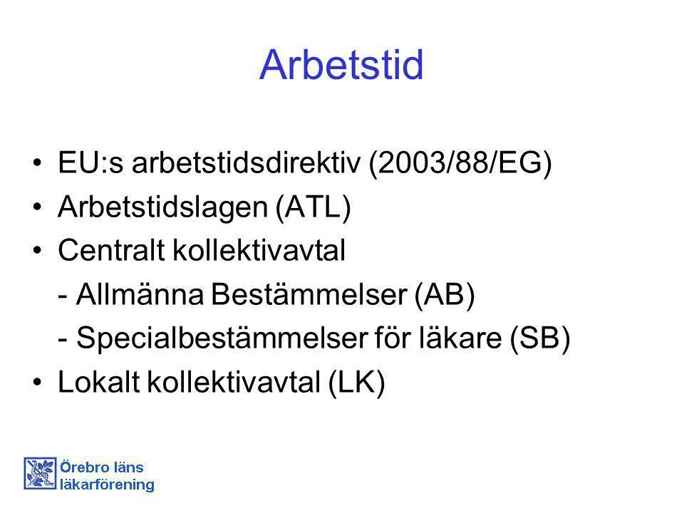 Arbetstid EU:s arbetstidsdirektiv (2003/88/EG) Arbetstidslagen (ATL) Centralt kollektivavtal - Allmänna Bestämmelser (AB) - Specialbestämmelser för läkare (SB) Lokalt kollektivavtal (LK)