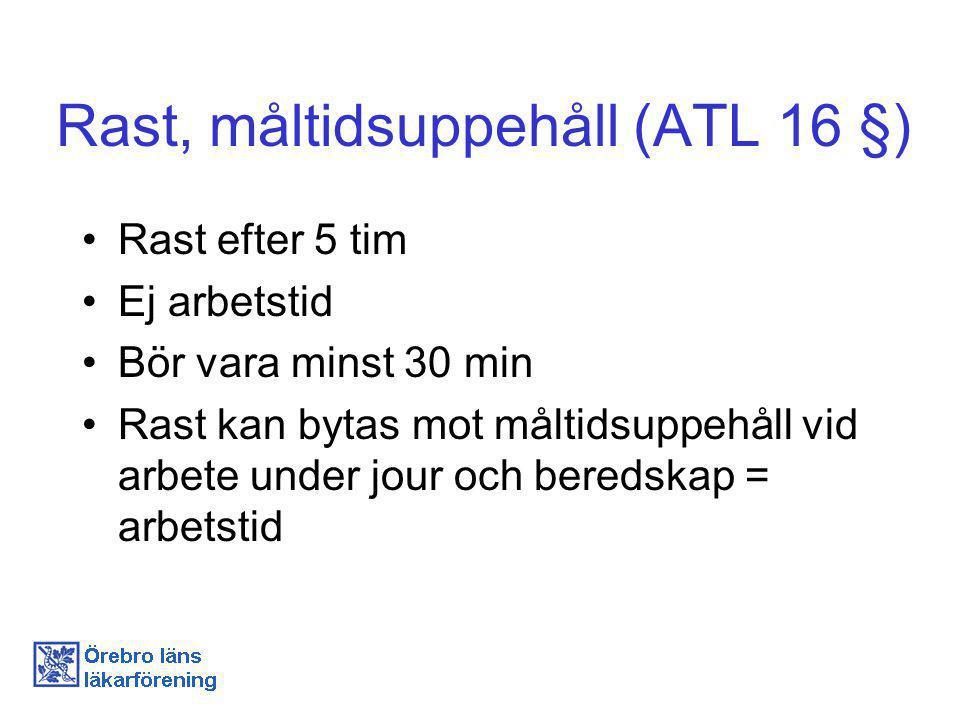 Dygnsvila (ATL 13 §) Minst 11 h sammanhängande ledighet/24 h Undantag vid oförutsedda, force majeureliknande, händelser.