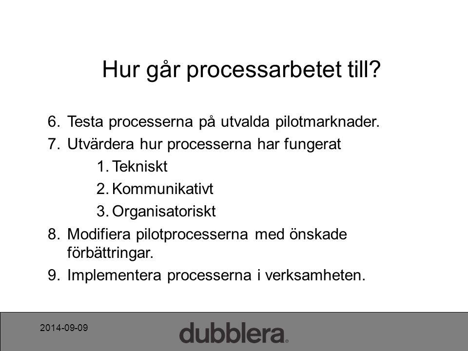 2014-09-09 Hur går processarbetet till. 6. Testa processerna på utvalda pilotmarknader.