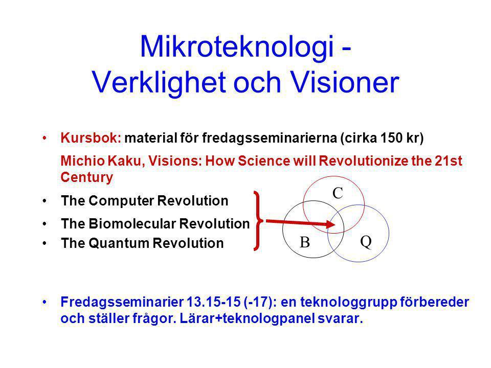 Mikroteknologi 1- Kursplan Föreläsningar/gästspel Övningar: elementär teori/beräkn för kvantfysik och vågdynamik för nanosystem Litteratur/beräkningsprojekt: grupper om 2; 15 min presentation; rapport (≈ redigerat material från presentationen) Fredagsseminarier: Visioner för 21:a århundradet Grupparbete (4-5 teknologer) - frågeställare Grupparbete (4-5 teknologer) - teknologpanel Lärarpanel