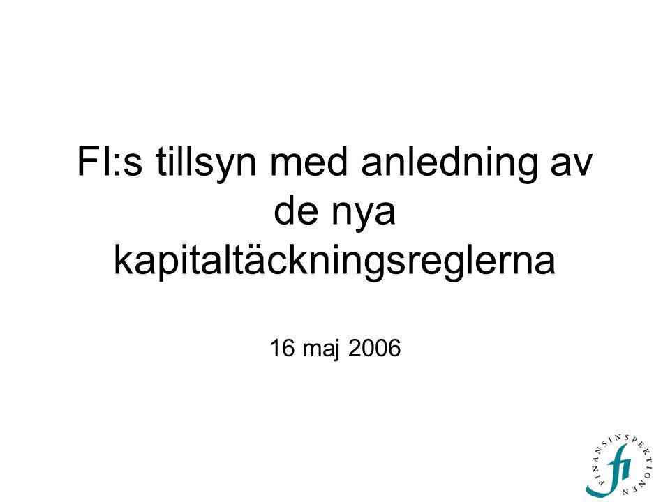FI:s tillsyn med anledning av de nya kapitaltäckningsreglerna 16 maj 2006