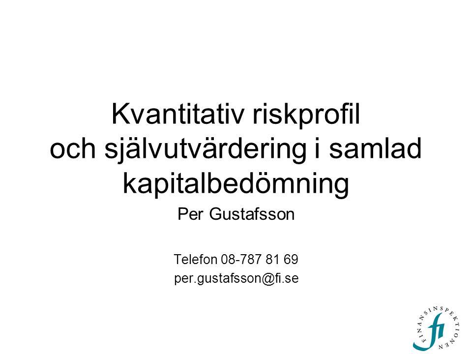 Kvantitativ riskprofil och självutvärdering i samlad kapitalbedömning Per Gustafsson Telefon 08-787 81 69 per.gustafsson@fi.se