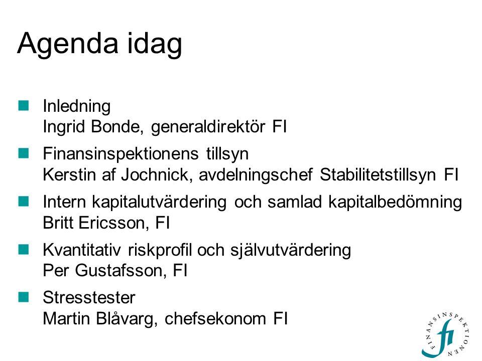 Agenda idag Inledning Ingrid Bonde, generaldirektör FI Finansinspektionens tillsyn Kerstin af Jochnick, avdelningschef Stabilitetstillsyn FI Intern ka