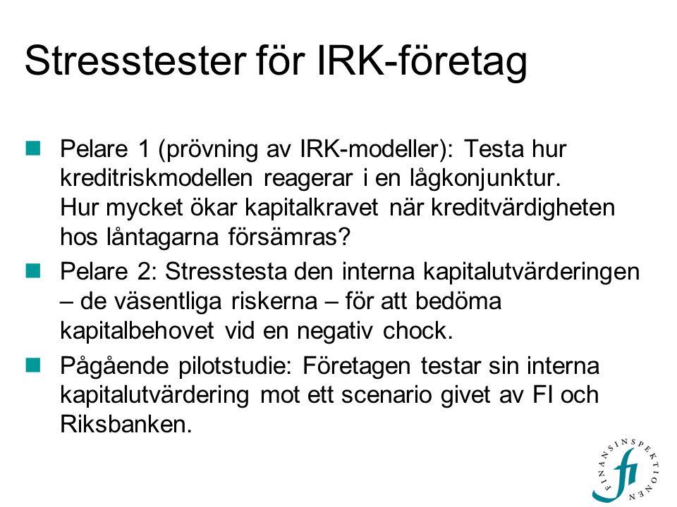 Stresstester för IRK-företag Pelare 1 (prövning av IRK-modeller): Testa hur kreditriskmodellen reagerar i en lågkonjunktur. Hur mycket ökar kapitalkra