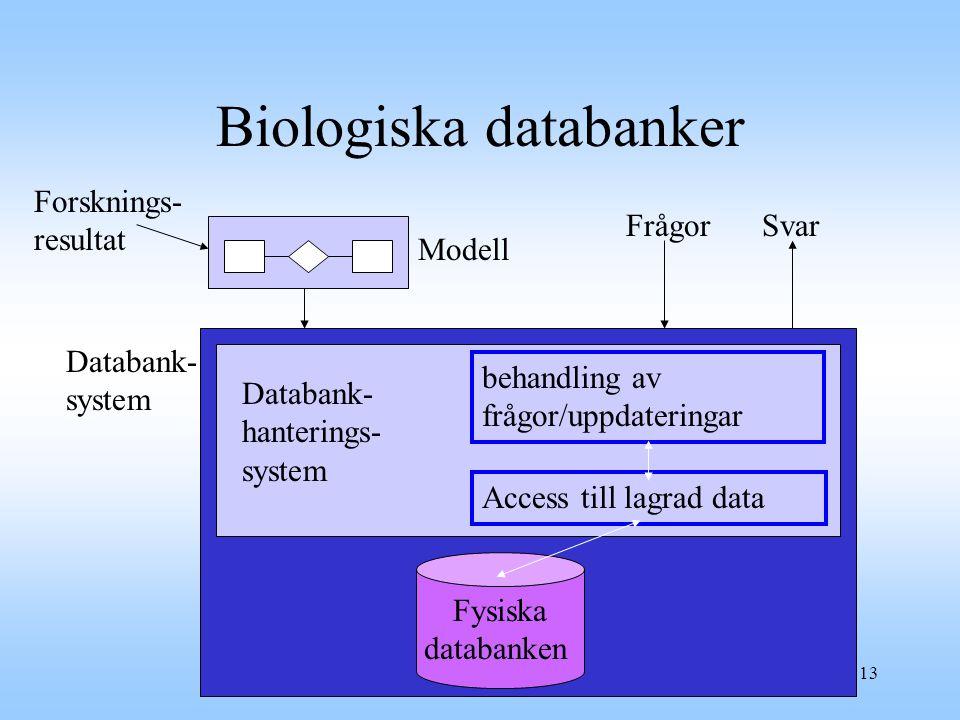 13 Biologiska databanker Forsknings- resultat Modell FrågorSvar Databank- system Fysiska databanken Databank- hanterings- system behandling av frågor/uppdateringar Access till lagrad data