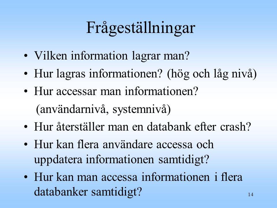 14 Frågeställningar Vilken information lagrar man.