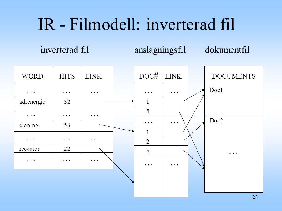23 WORDHITSLINK DOC # LINKDOCUMENTS receptor cloning adrenergic32 1 5 2 5 1 22 53 … … … … … … … … … … … … …… …… …… Doc1 Doc2 … inverterad filanslagningsfildokumentfil IR - Filmodell: inverterad fil