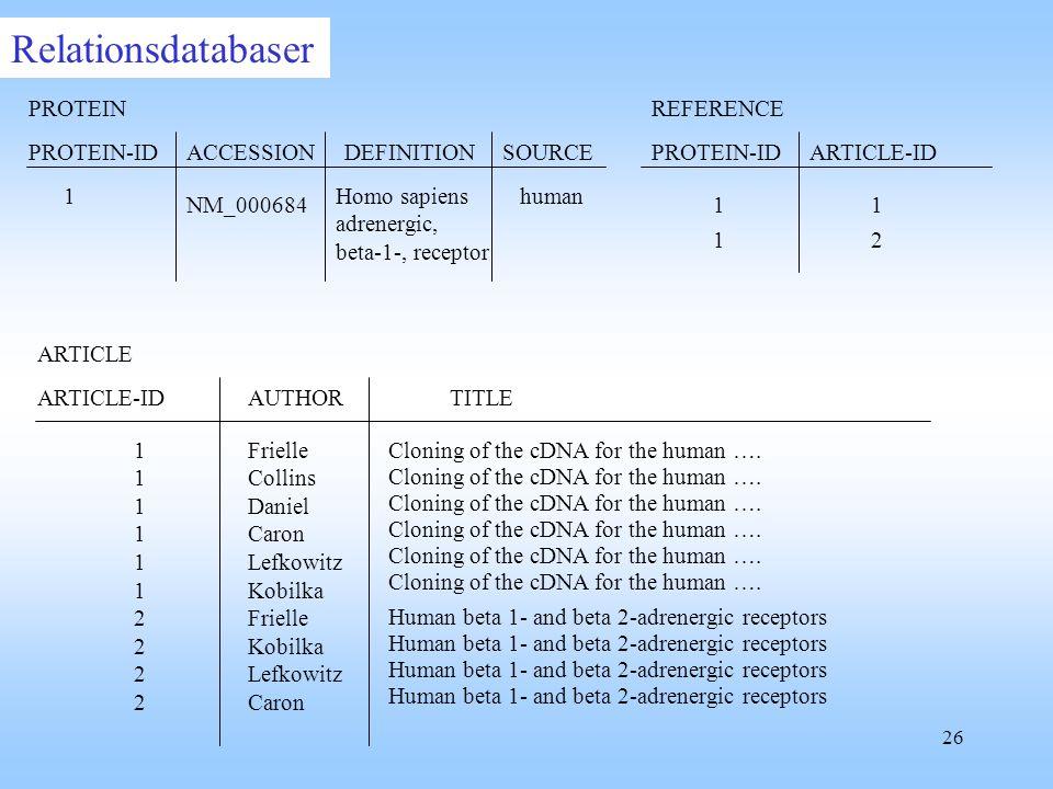 26 ARTICLE-IDAUTHOR ARTICLE 11111122221111112222 Frielle Collins Daniel Caron Lefkowitz Kobilka Frielle Kobilka Lefkowitz Caron PROTEIN ACCESSIONSOURCEDEFINITION Homo sapiens adrenergic, beta-1-, receptor NM_000684 human PROTEIN-ID 1REFERENCE PROTEIN-IDARTICLE-ID 11 12 Human beta 1- and beta 2-adrenergic receptors Cloning of the cDNA for the human ….