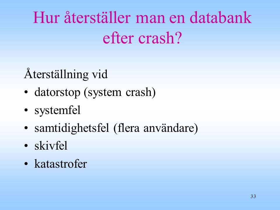 33 Hur återställer man en databank efter crash.