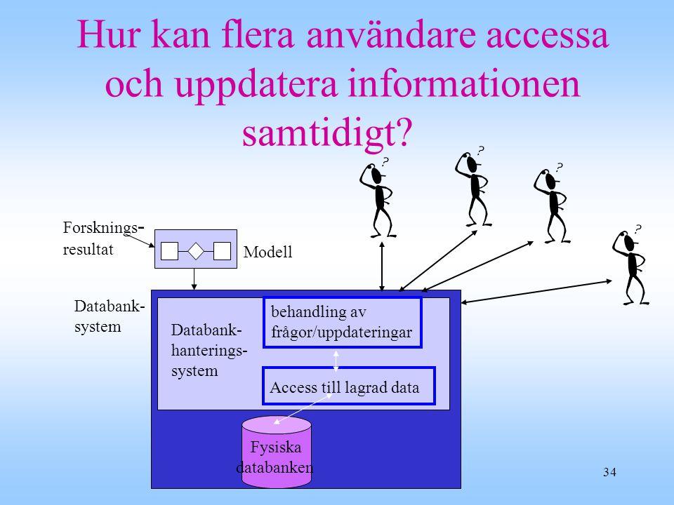 34 Hur kan flera användare accessa och uppdatera informationen samtidigt.
