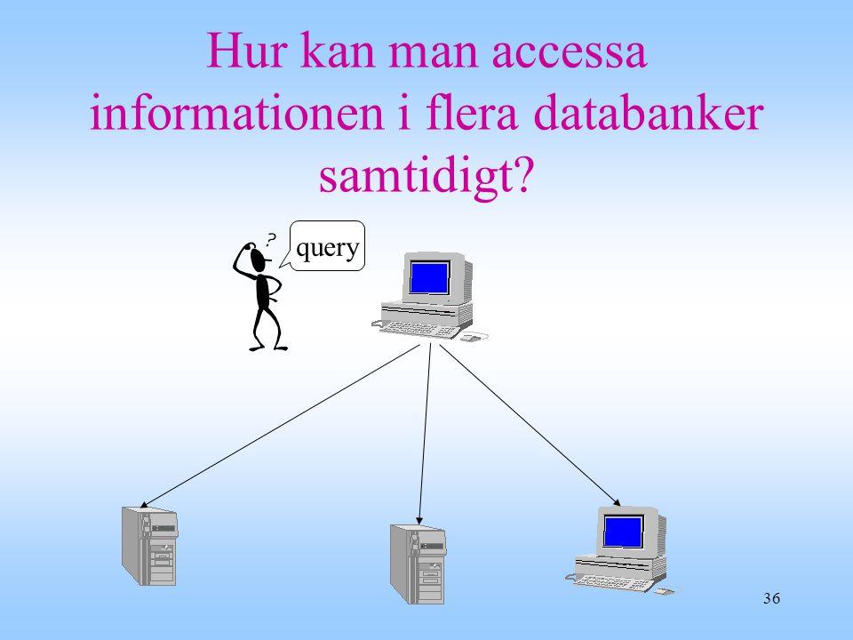 36 Hur kan man accessa informationen i flera databanker samtidigt? query