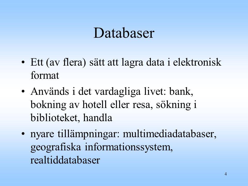 4 Databaser Ett (av flera) sätt att lagra data i elektronisk format Används i det vardagliga livet: bank, bokning av hotell eller resa, sökning i biblioteket, handla nyare tillämpningar: multimediadatabaser, geografiska informationssystem, realtiddatabaser