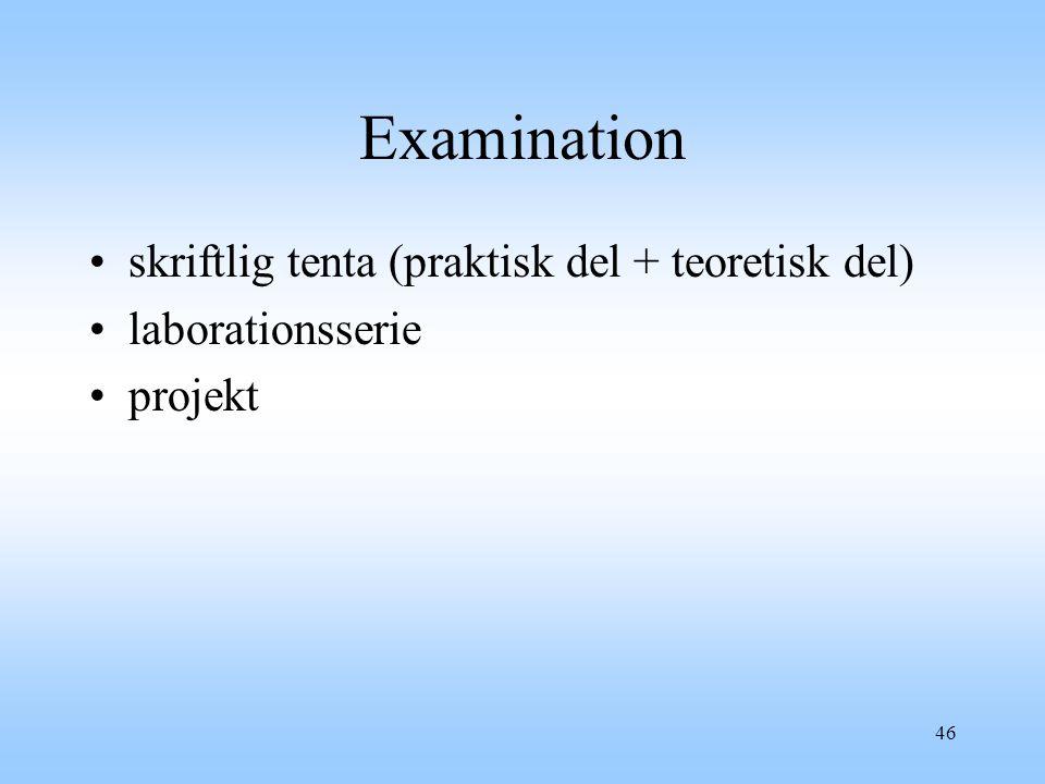 46 Examination skriftlig tenta (praktisk del + teoretisk del) laborationsserie projekt