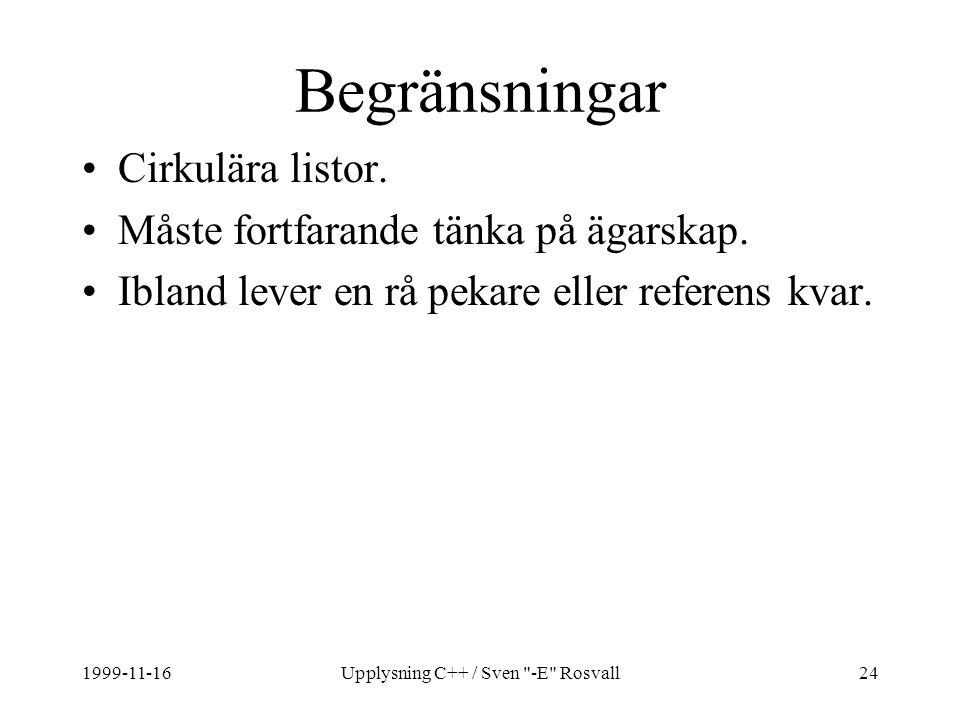 1999-11-16Upplysning C++ / Sven -E Rosvall24 Begränsningar Cirkulära listor.